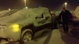 Mike, Nate and I returned to the Billings airport late one night to find my truck like this.