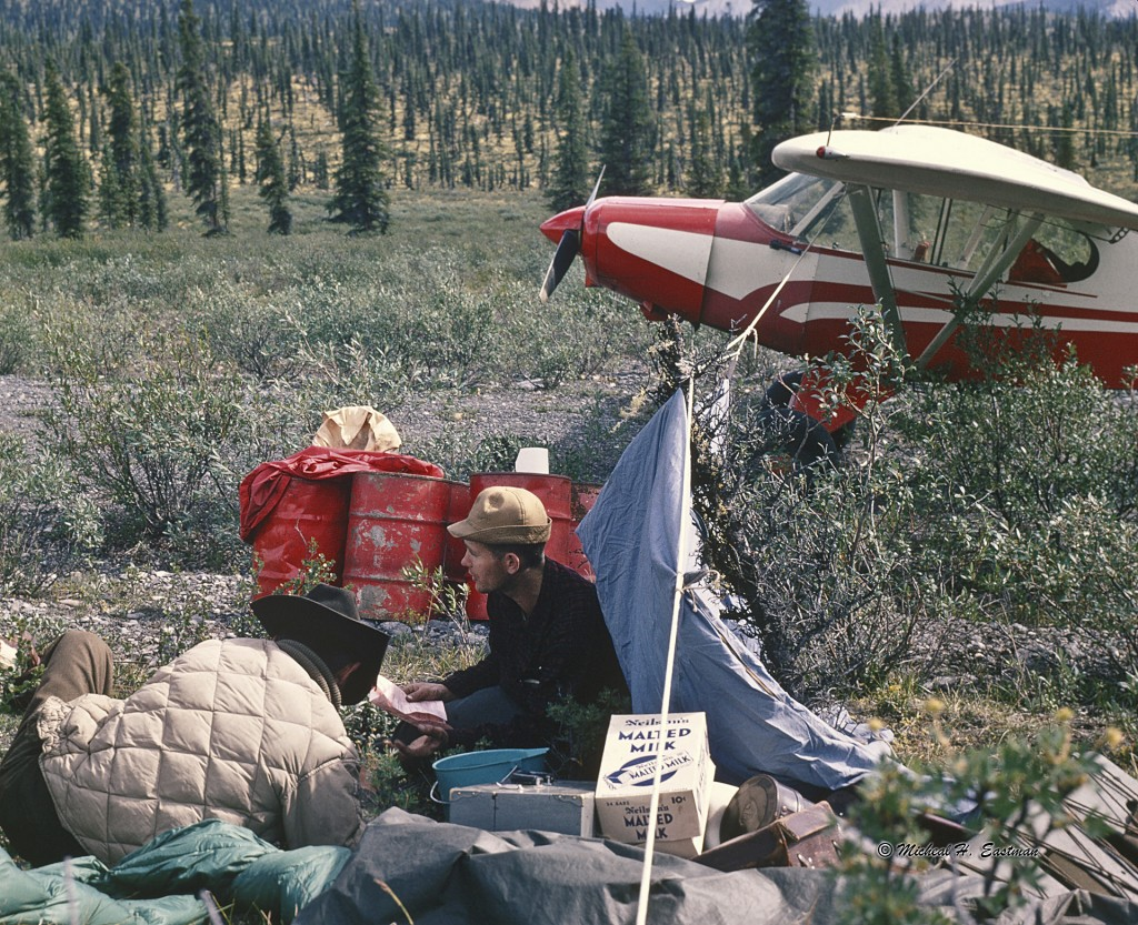 Gordon and Warren at a camp on the canal road to Yellowknife N.W.T. that was built in the 40's. After the war, it was abandoned and never used to bring oil down to the United States. Gordon used it for a landing strip while hunting.